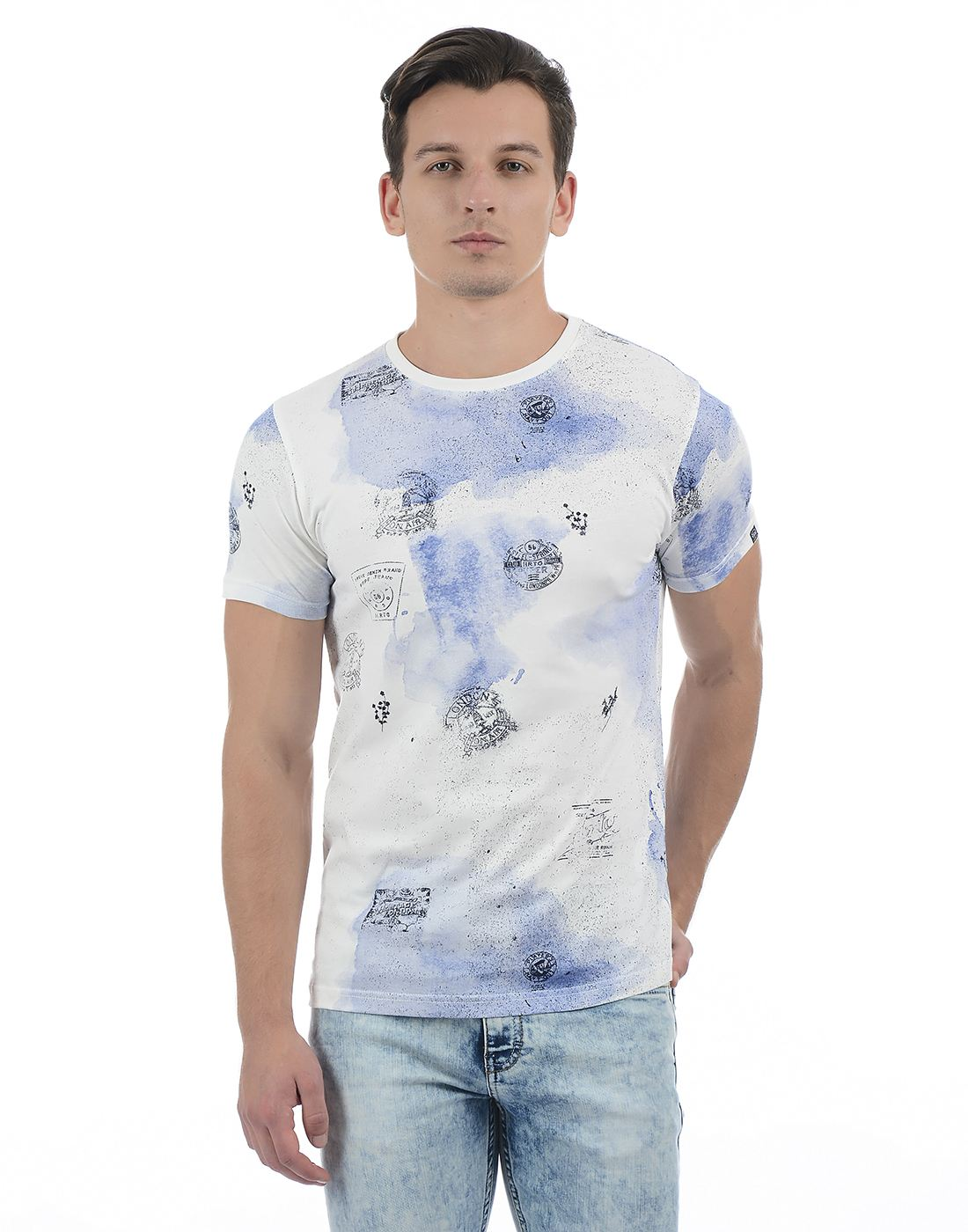 Pepe Jeans Men Abstract White T-Shirt