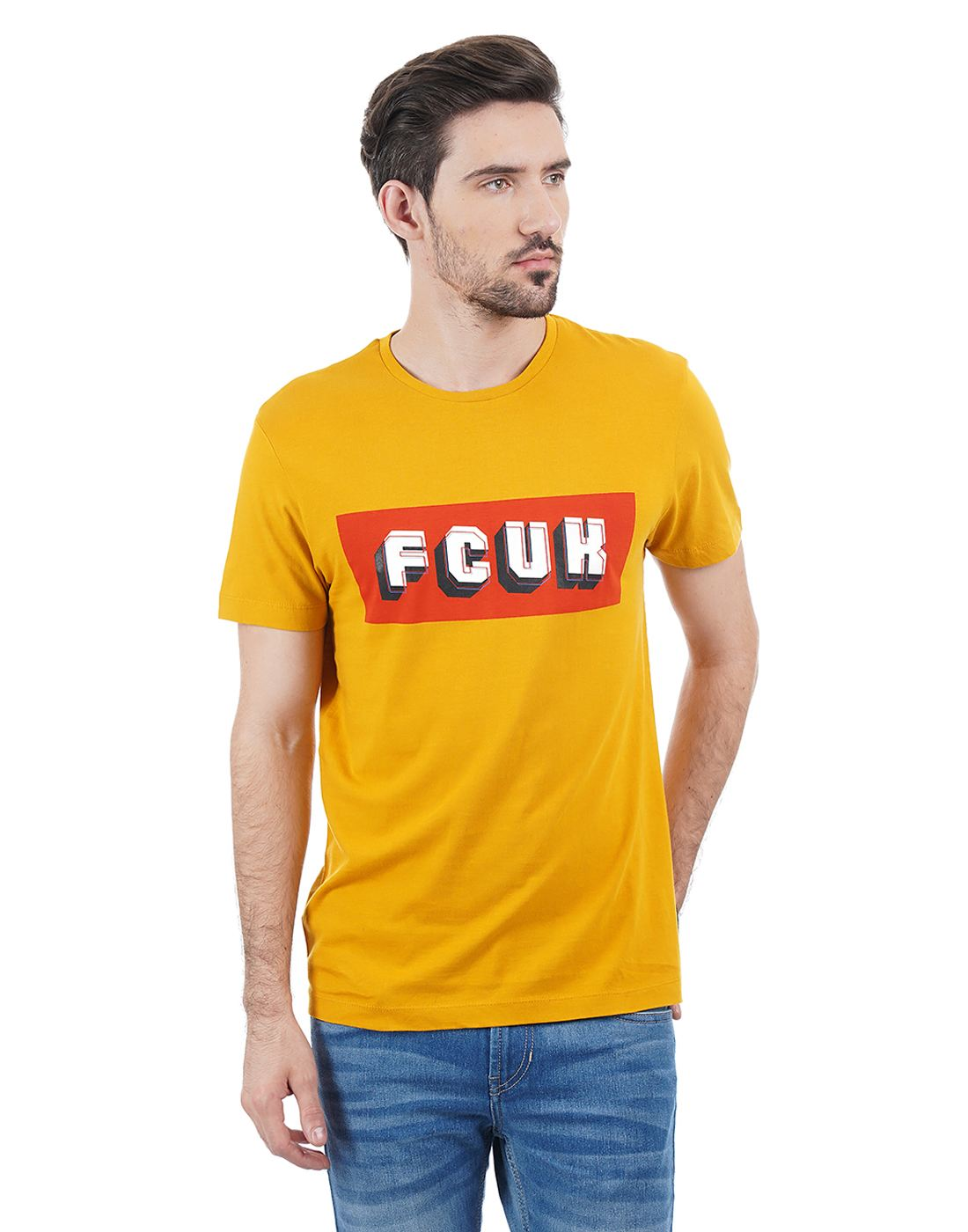 French Connection Men Yellow T-shirt