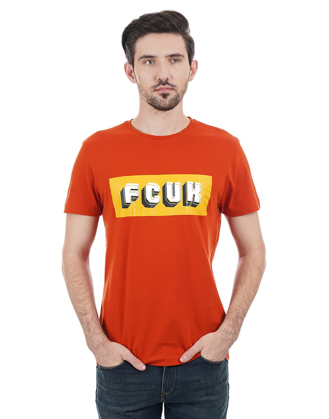 French Connection Men Orange T-shirt