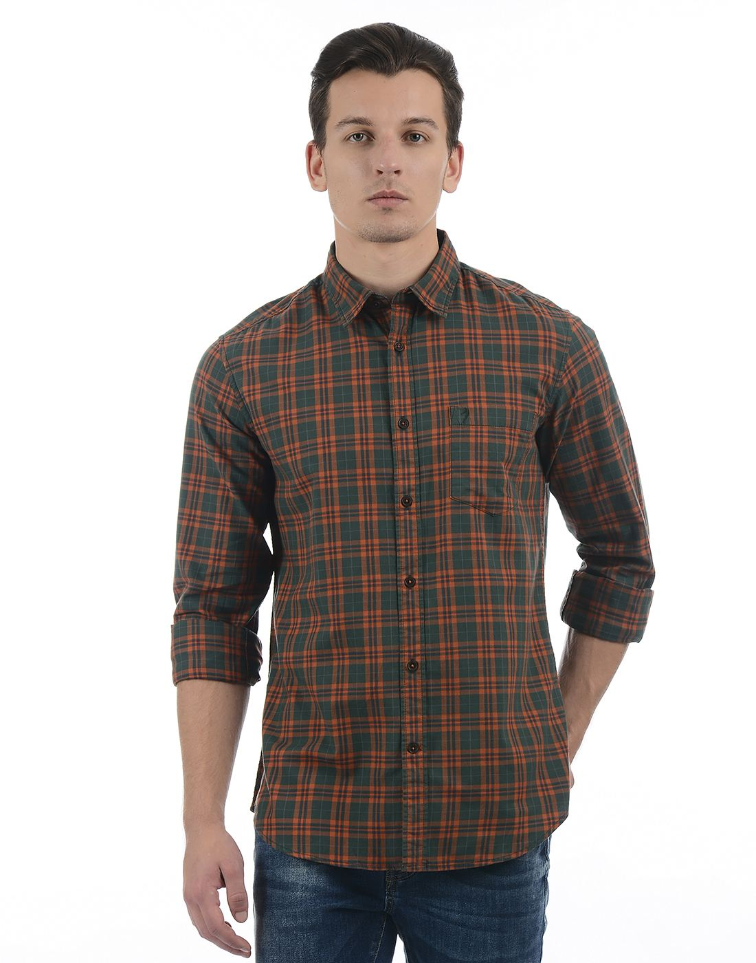 Indian Terrain Men Olive Shirt