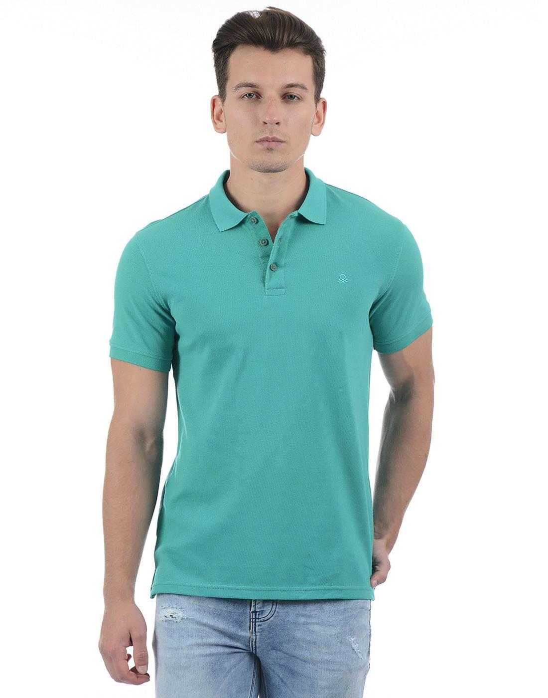 United Colors of Benetton Men Green Polo Shirt