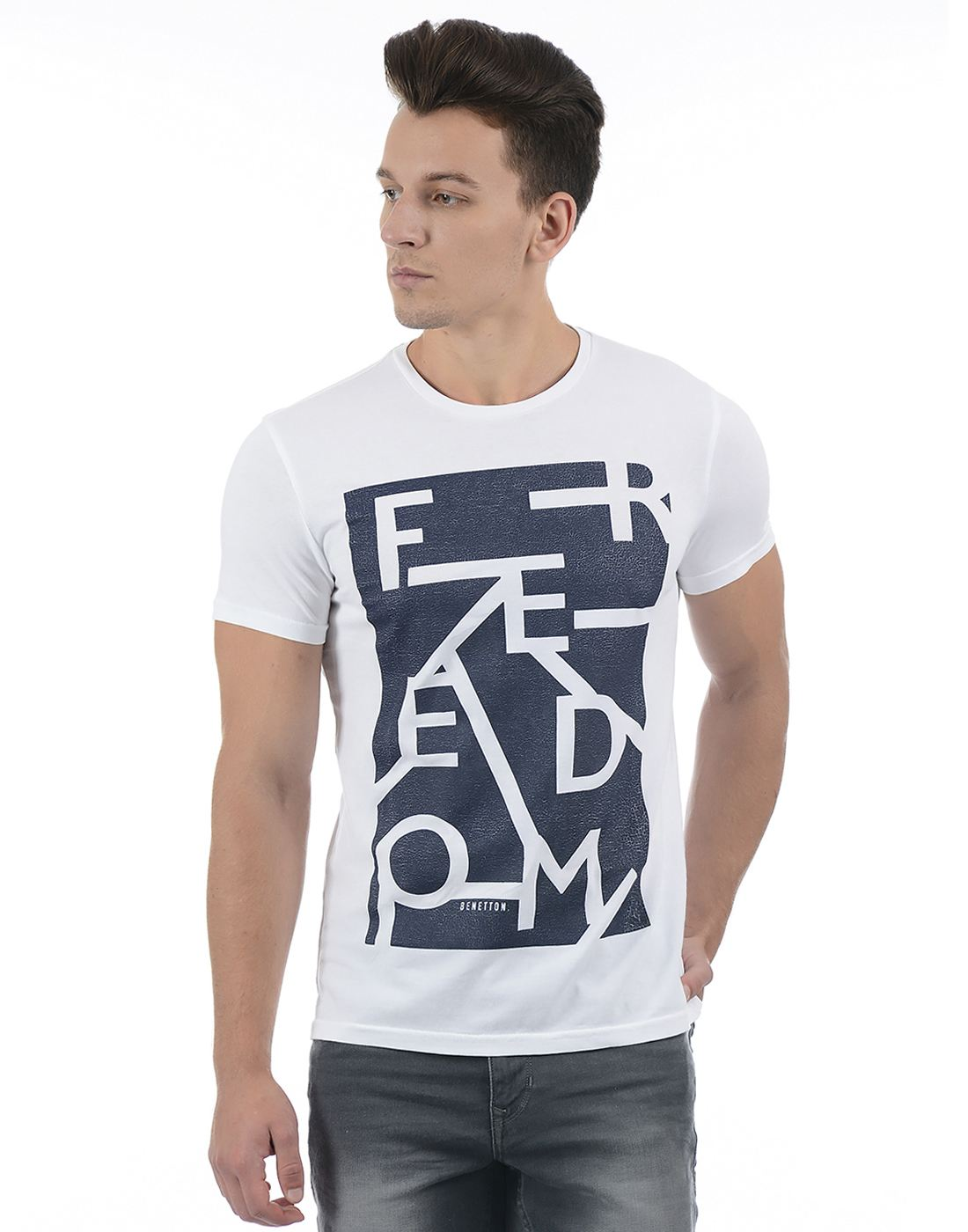 United Colors of Benetton Men White T-shirt