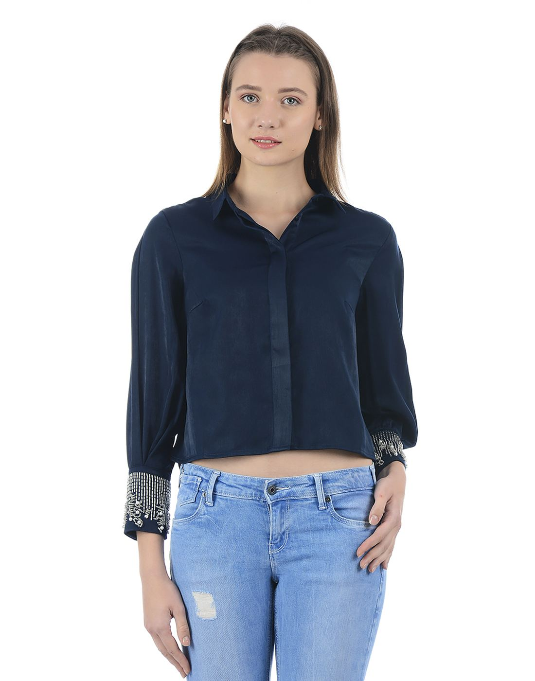 Kazo Women Dress Blue Shirt