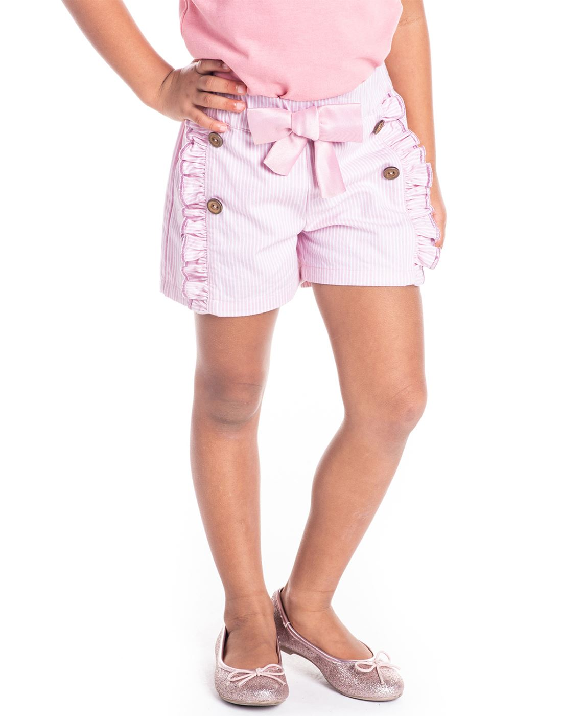 Cherry Crumble California Casual Wear Striped Girls Shorts