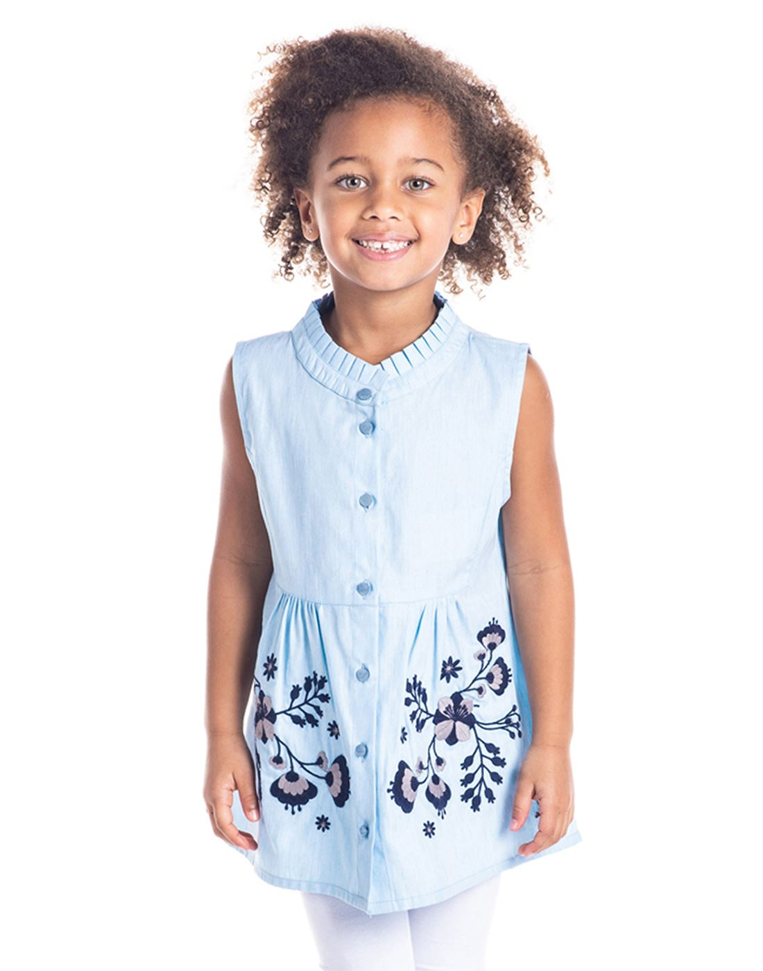 Cherry Crumble California Casual Wear Embroidered Girls Top