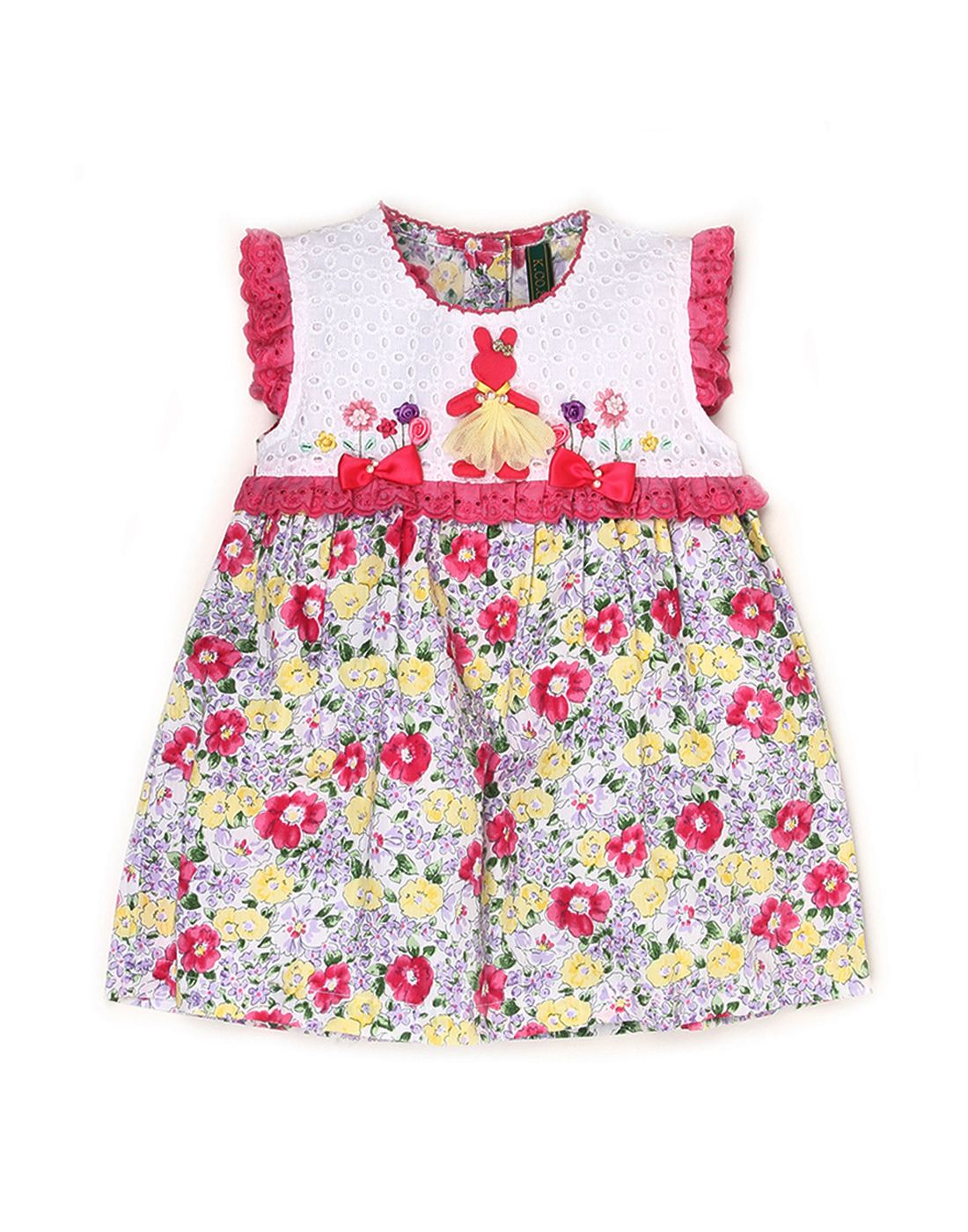 K.C.O 89 Baby Girls Casual Floral Print Sleeveless Frock