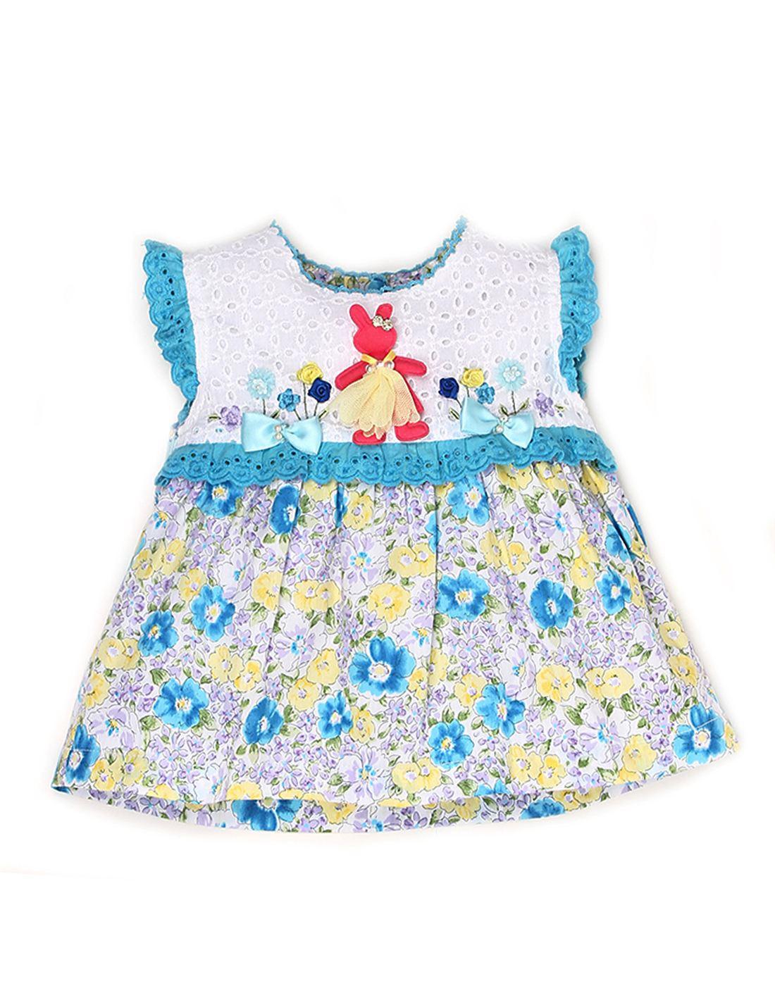 K.C.O 89 Baby Girls Casual Printed Sleeveless Frock