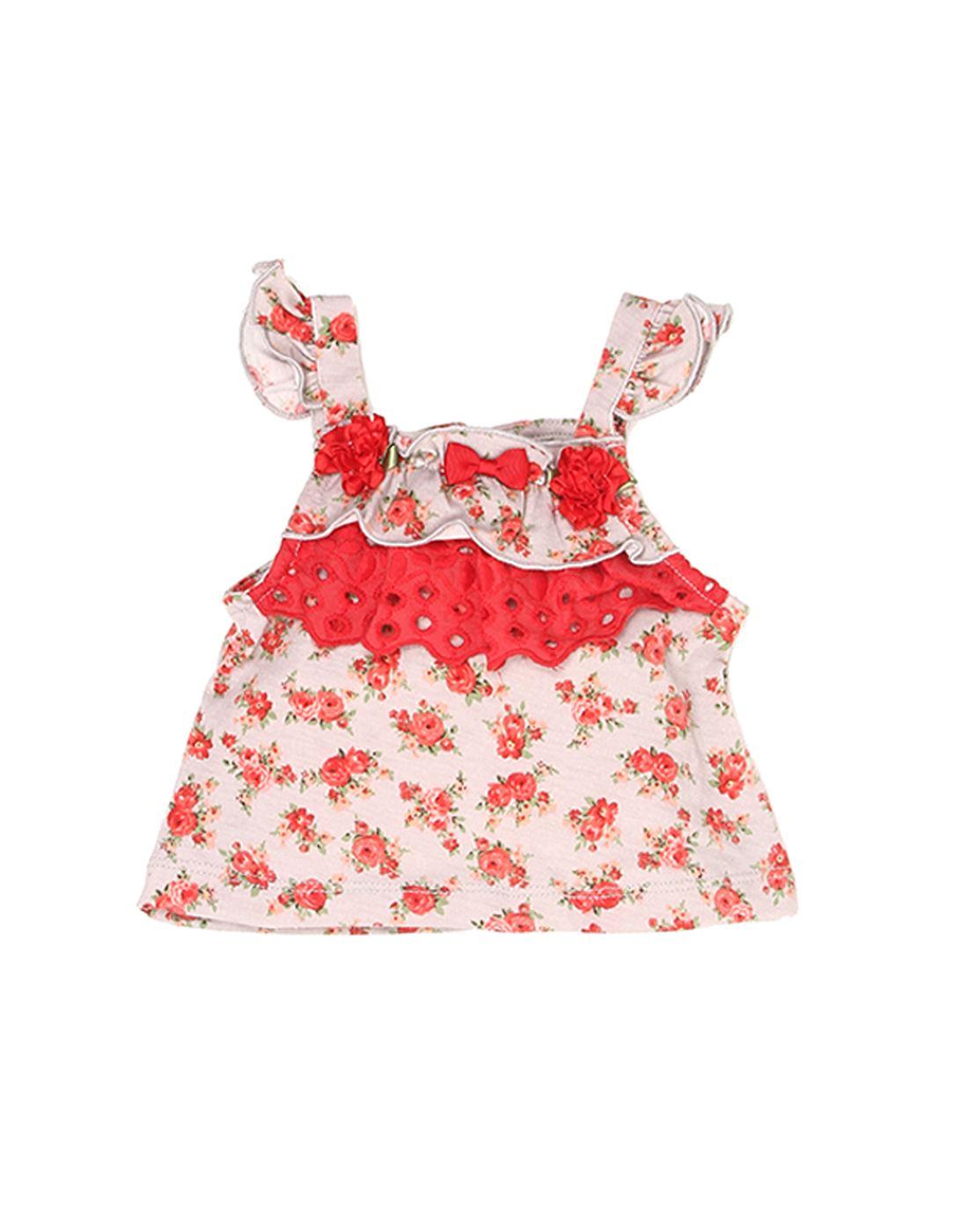 K.C.O 89 Baby Girls Casual Printed Cap Sleeve Top