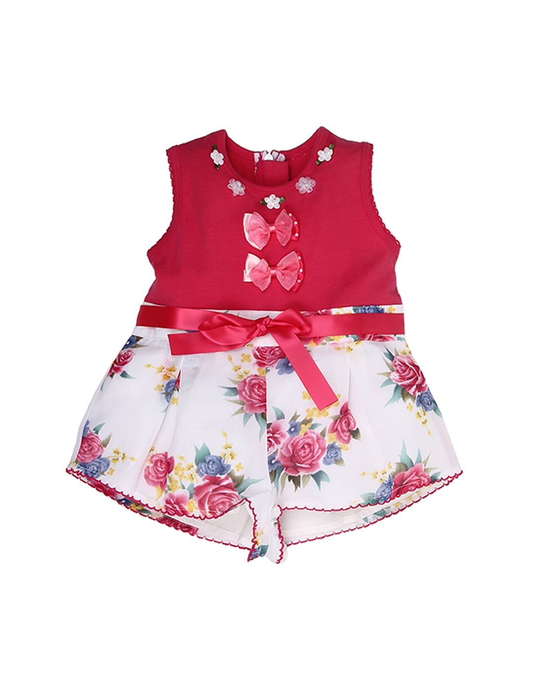 K.C.O 89 Baby Girls Party Printed Sleeveless Jump Suit