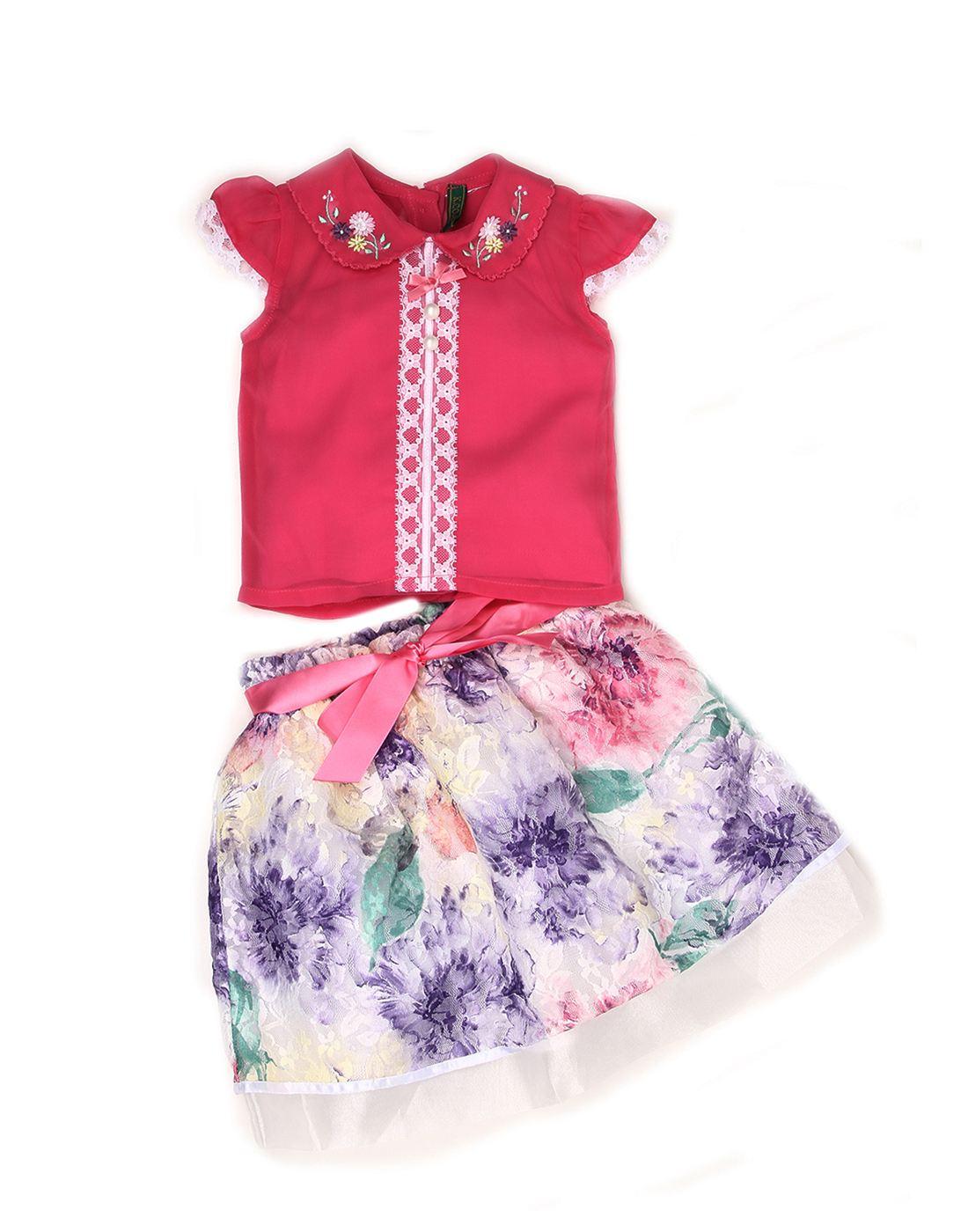 K.C.O 89 Baby Girls Party Printed Fashion Sleeve Skirt Set