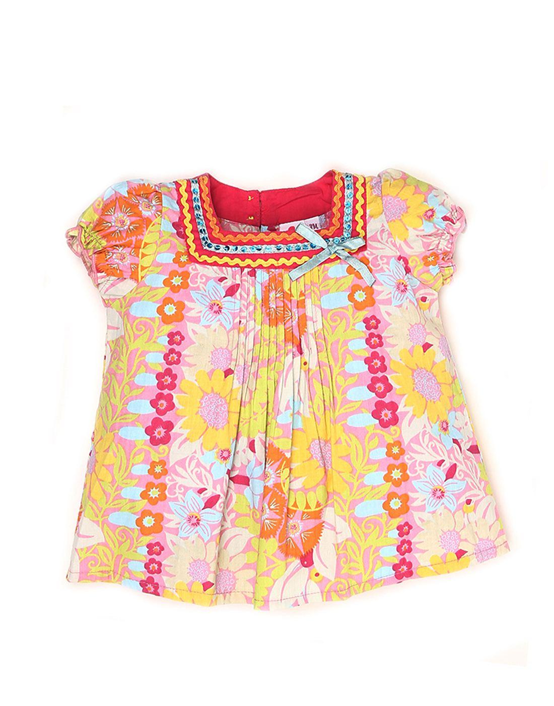 K.C.O 89 Girls Casual Printed Half Sleeve Dress