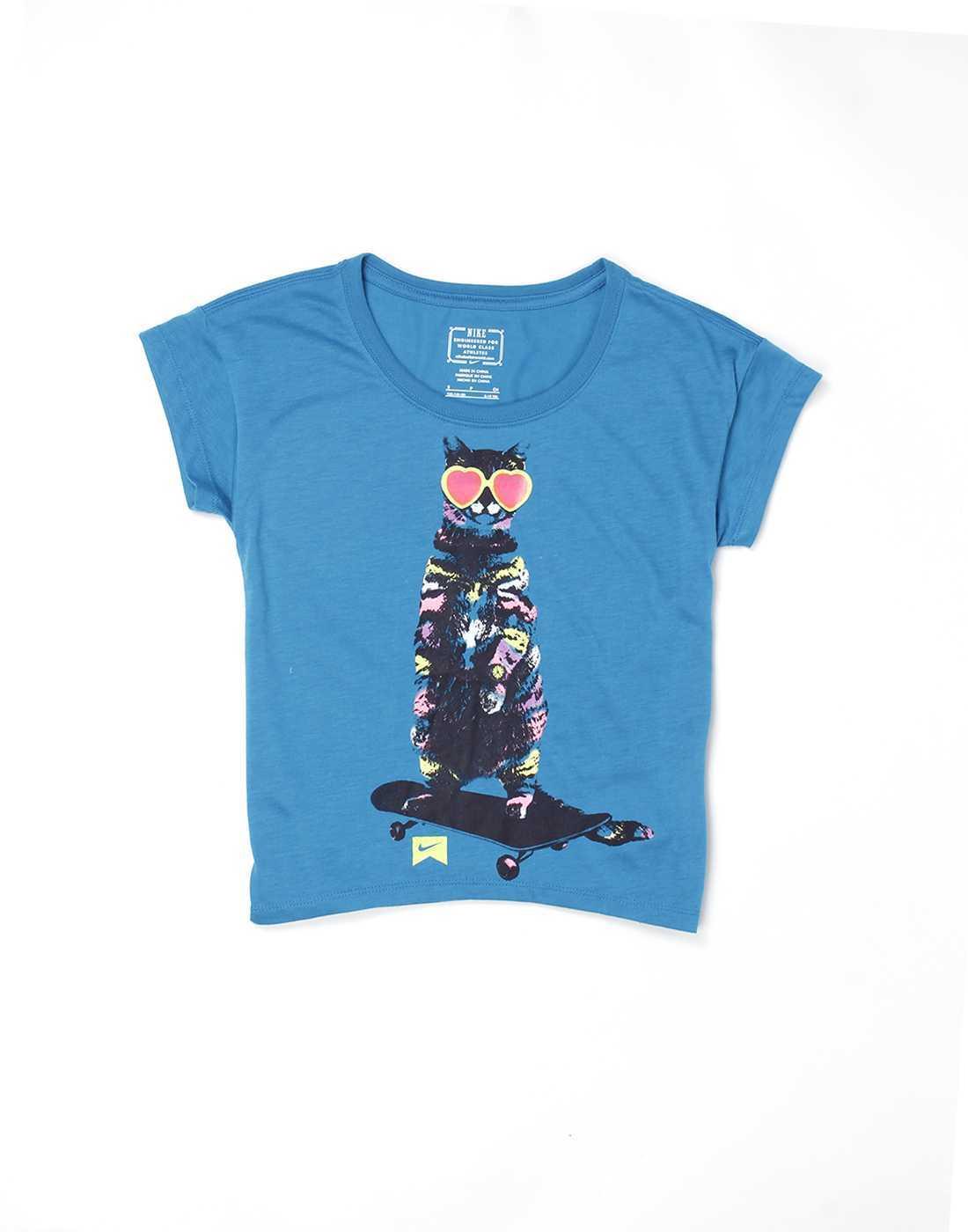 Nike Blue Cotton Girls Top