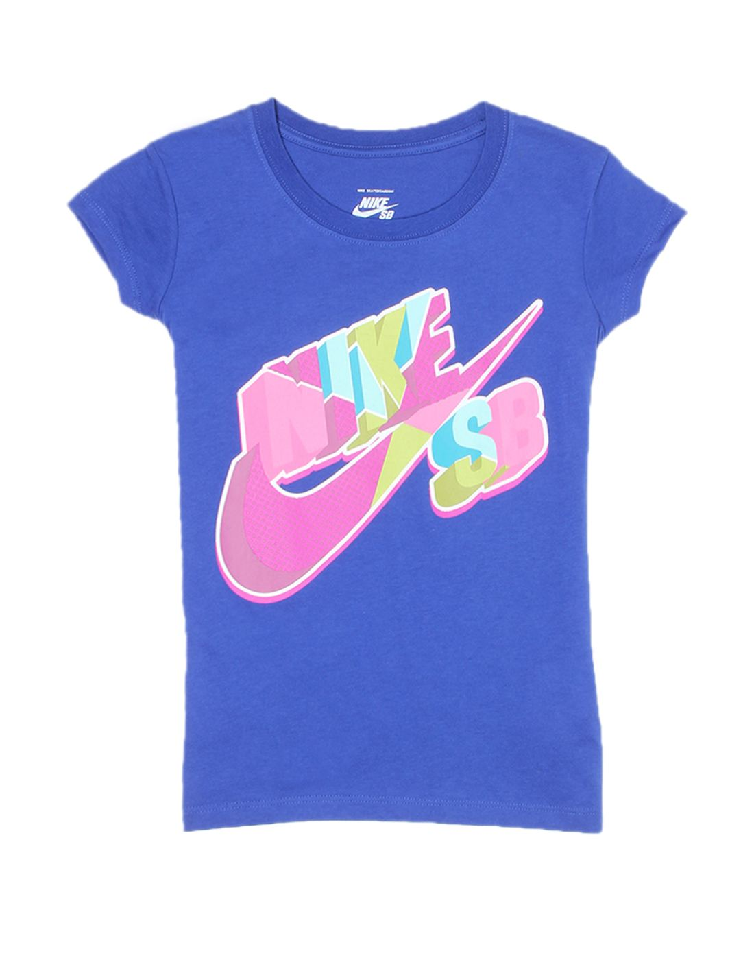 Nike Blue Cotton Girls T-Shirt