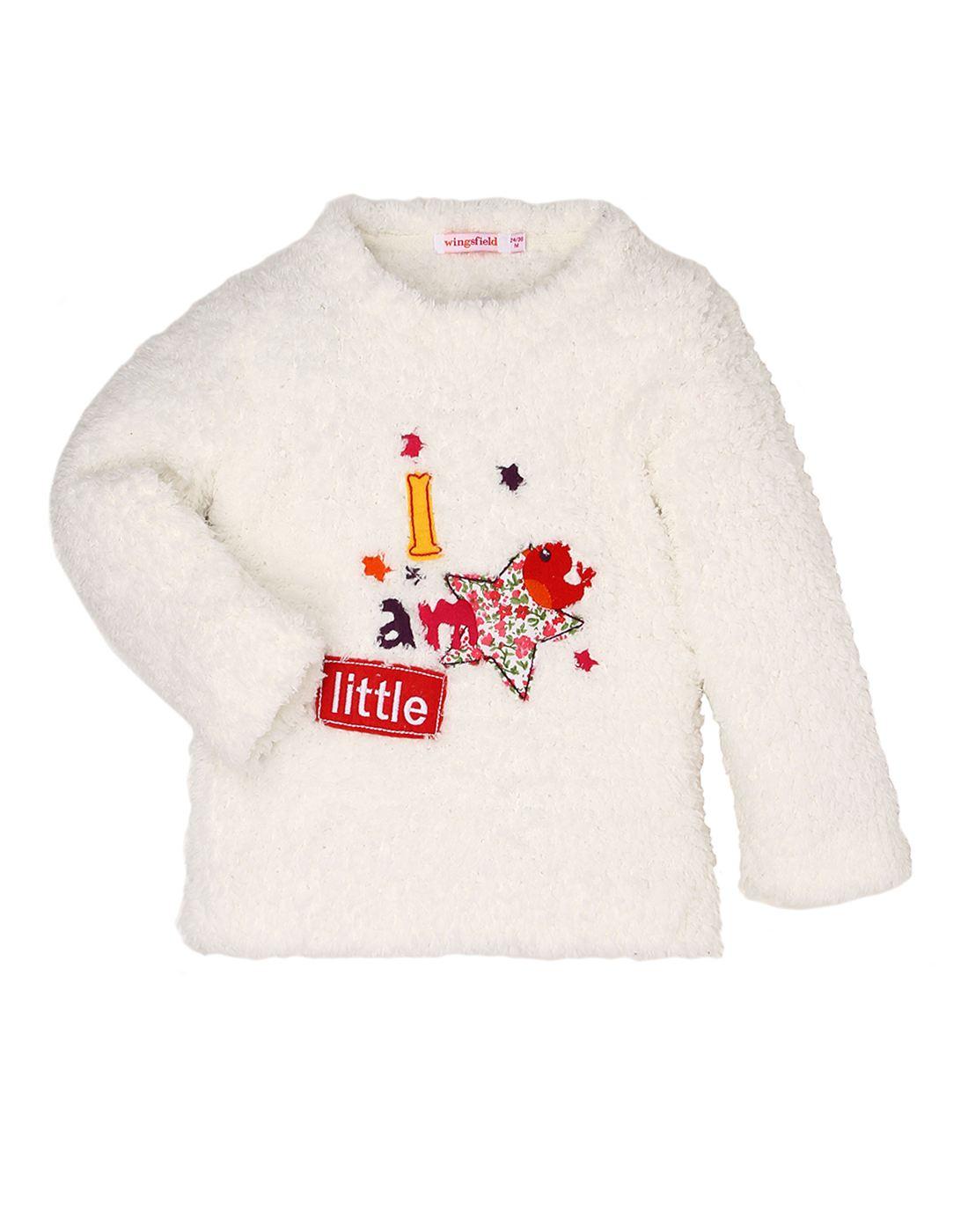 Wingsfield White Baby Girl Winter Wear Sweater
