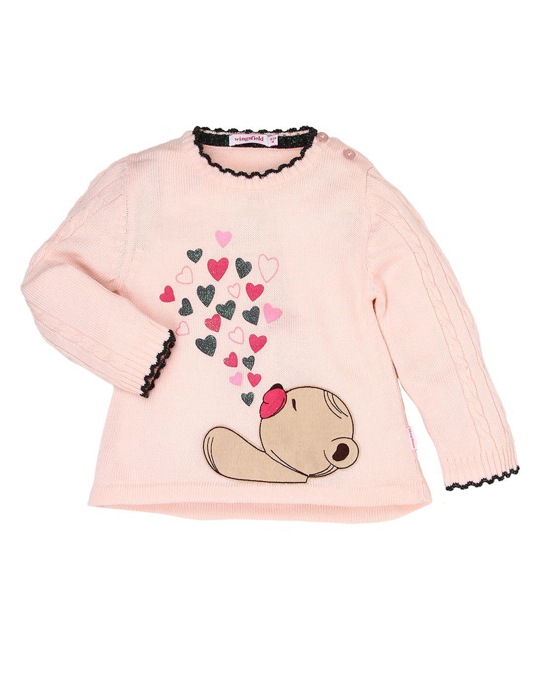 Wingsfield Pink Baby Girl Winter Wear Sweater