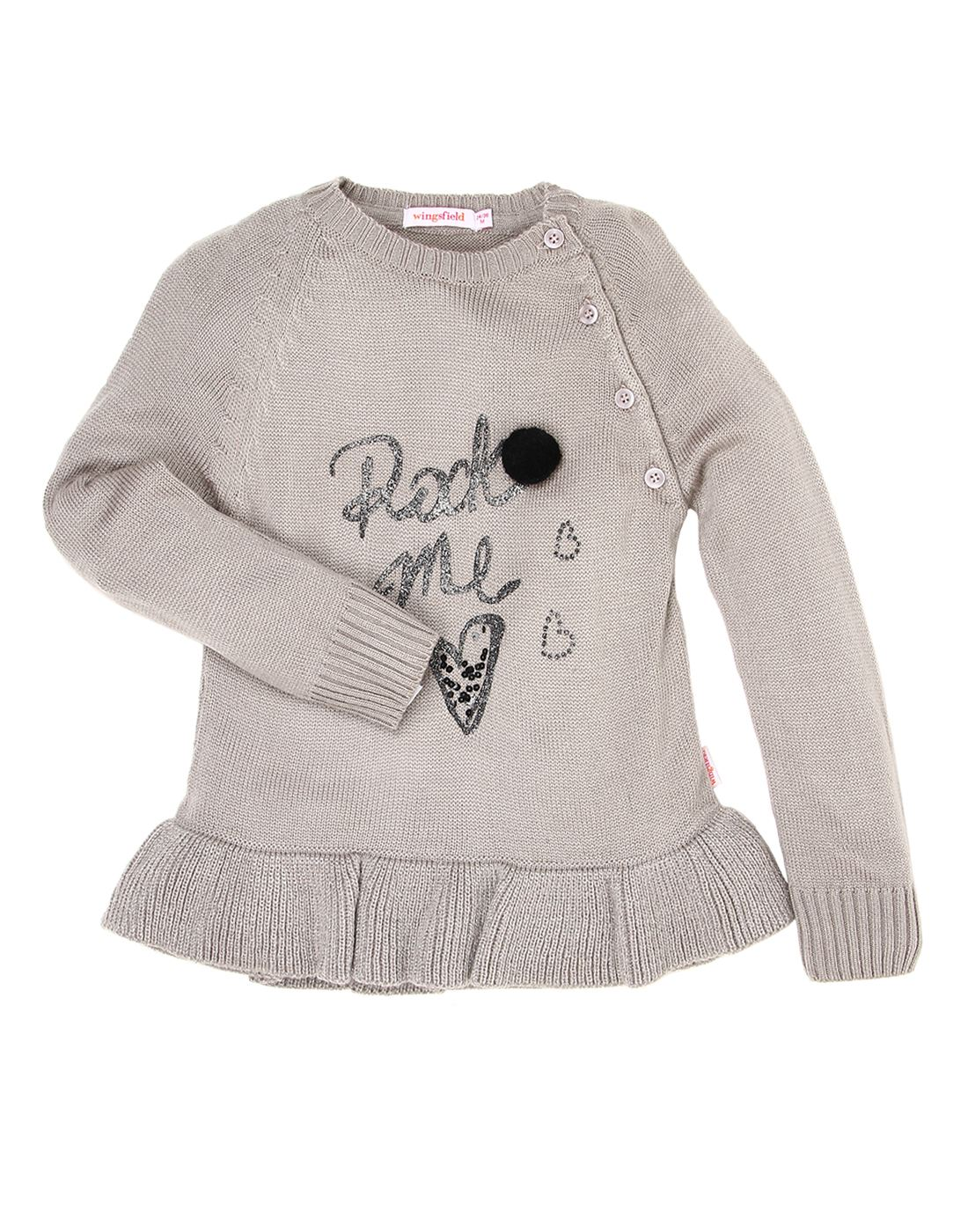 Wingsfield Grey Baby Girl Winter Wear Dress