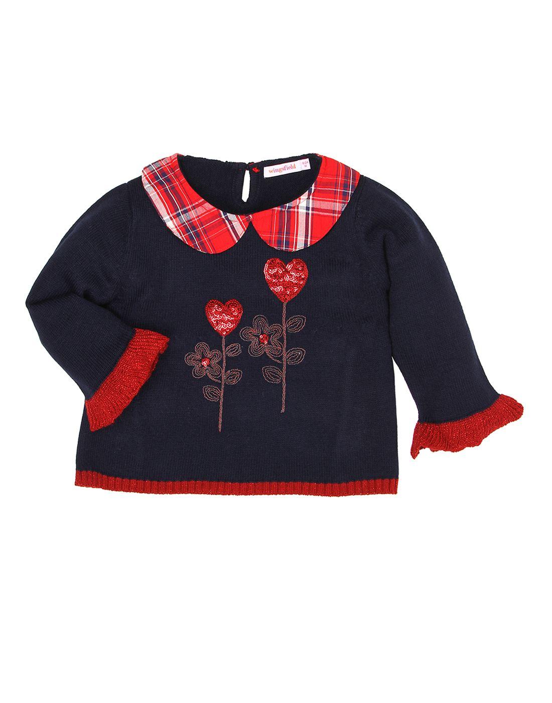Wingsfield Navy Baby Girl Winter Wear Sweater