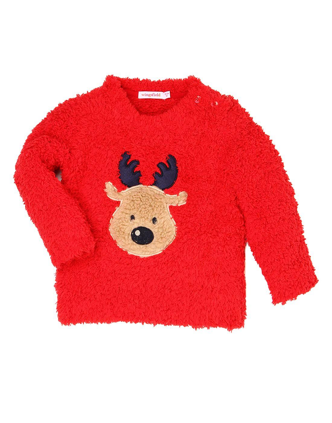 Wingsfield Red Baby Girl Winter Wear Sweater