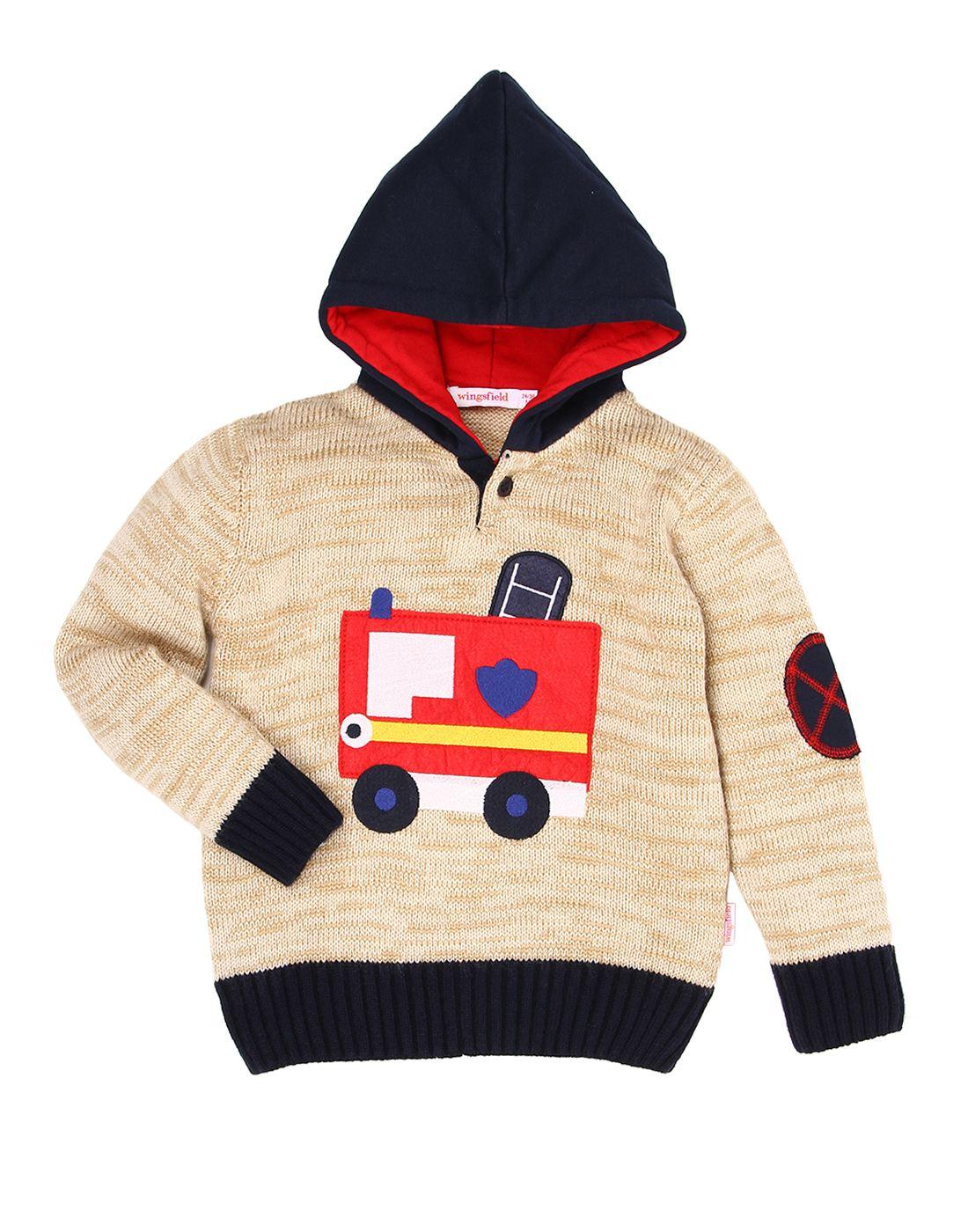 Wingsfield Beige Baby Boy Winter Wear Sweater