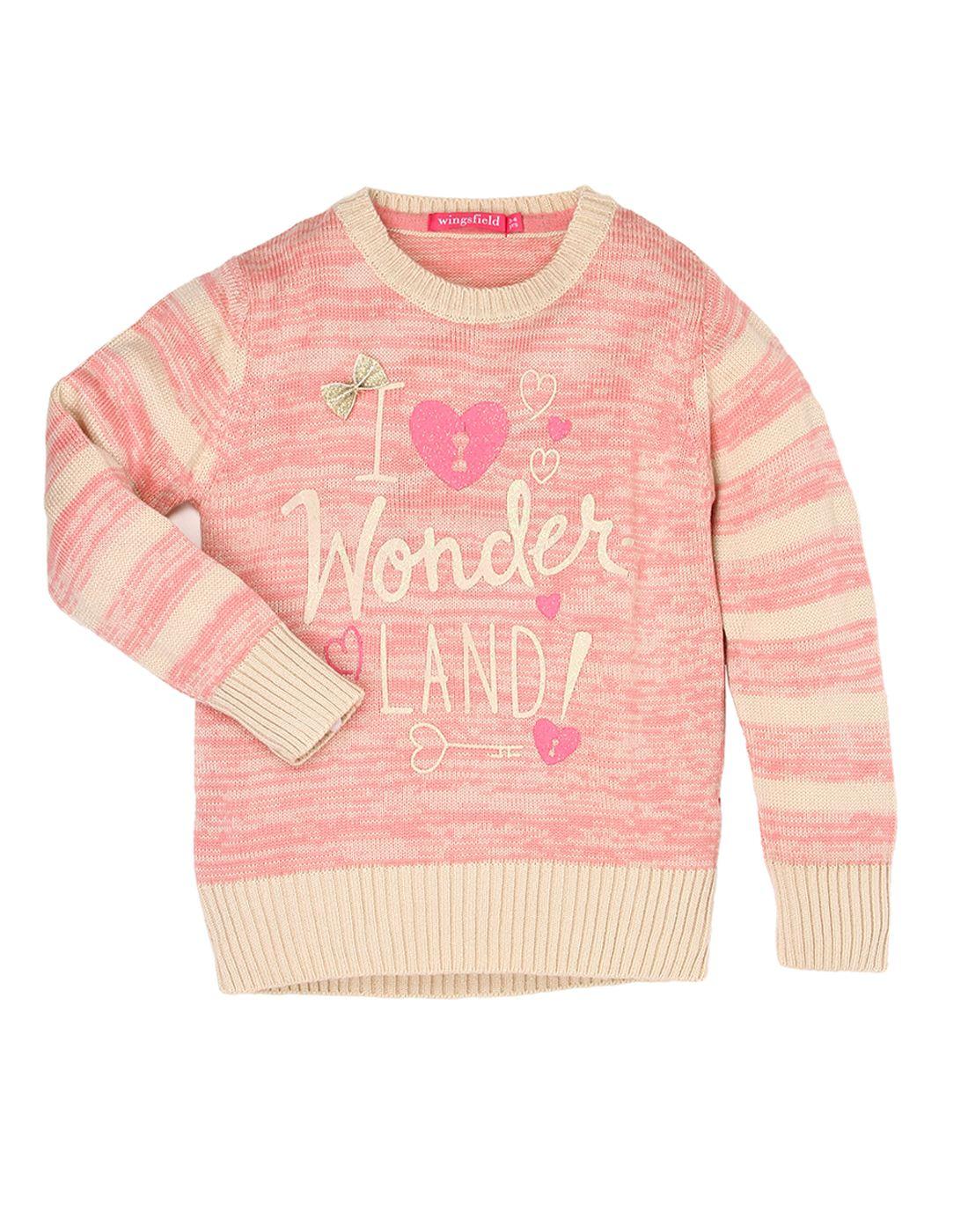Wingsfield Pink Girl Winter Wear Sweater