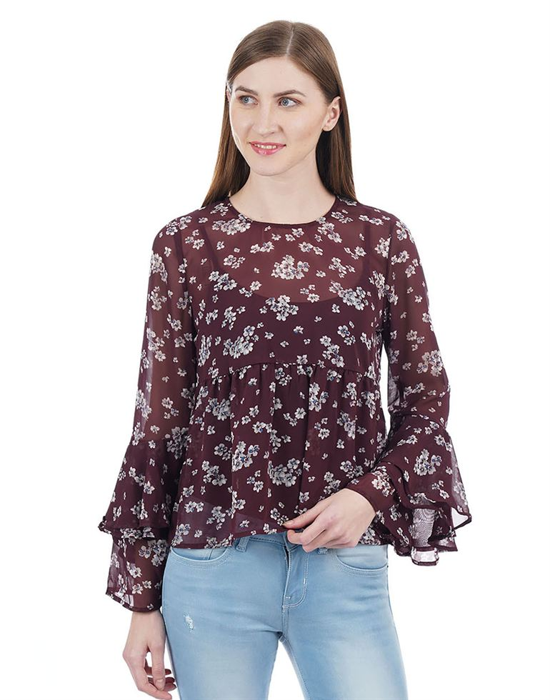 Aeropostale Women Maroon Top