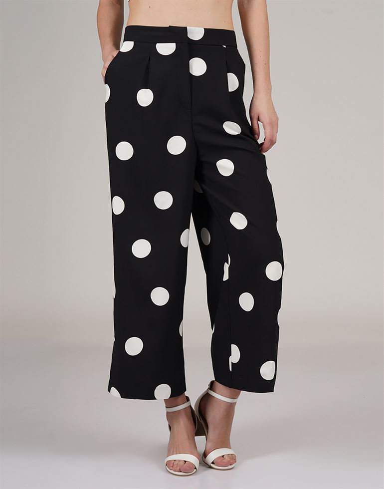 Cover Story Women Casual Wear Polka Print Trouser