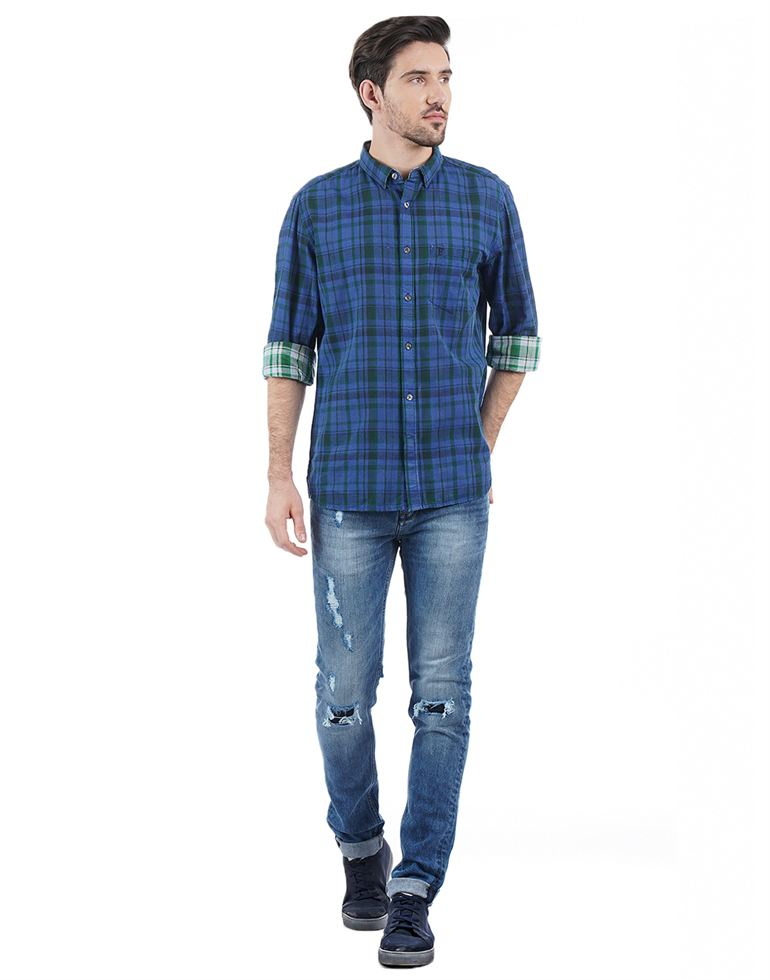 French Connection Casual Checkered Men Shirt