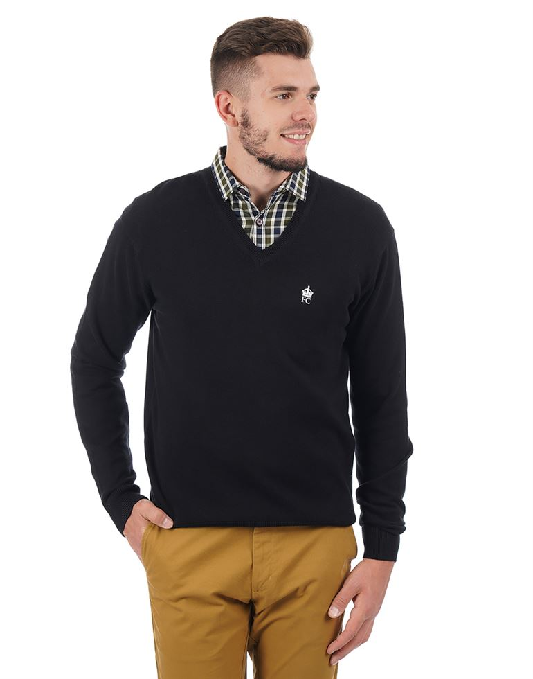 French Connection Men Casual Solid Sweater