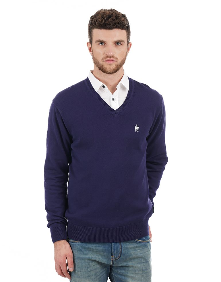 French Connection Men Casual Wear Solid Sweater
