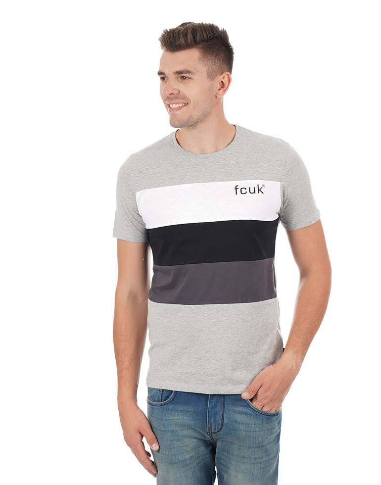 French Connection Men Casual Color Block T-shirt