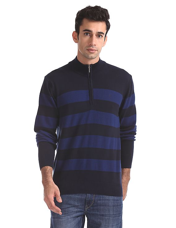 Izod Men Striped Casual Wear Sweater