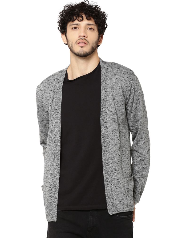 Jack & Jones Men Casual Grey Cardigan