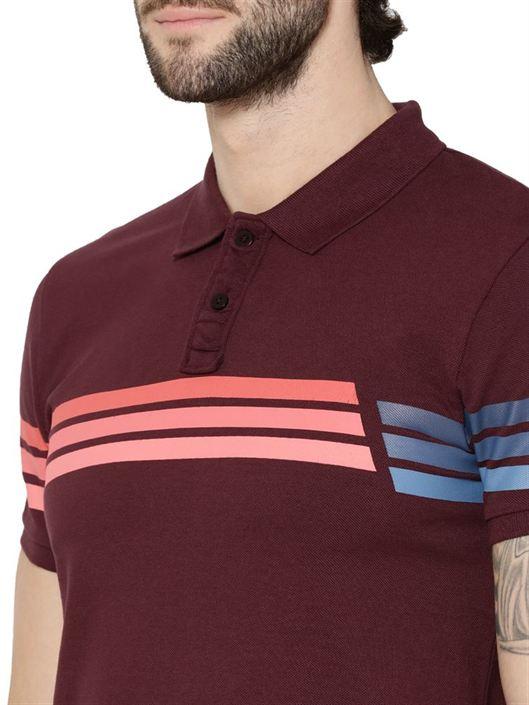 Jack & Jones Men Casual Wear Striped Polo T-Shirt