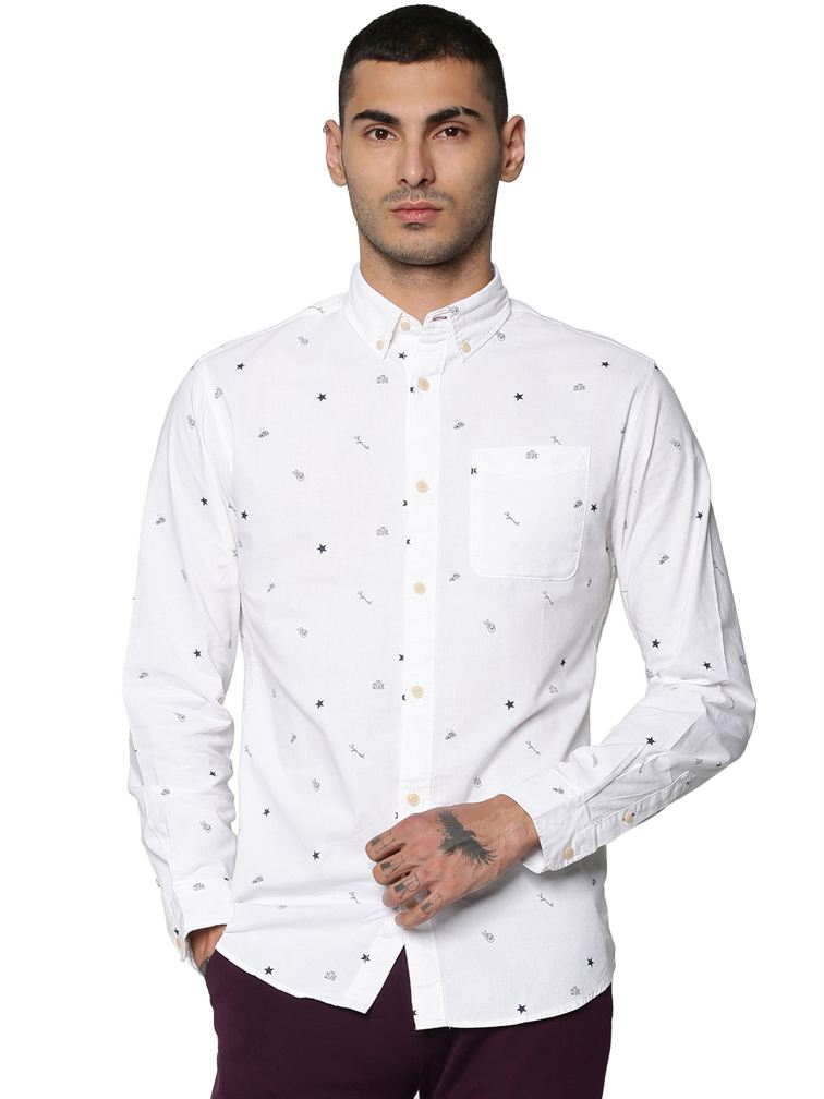 Jack & Jones Men Casual White Shirts