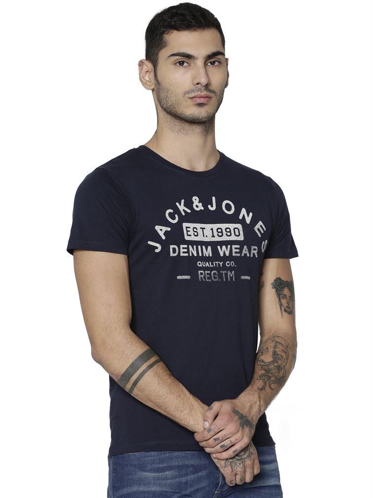 Jack & Jones Men Casual Blue T-shirt