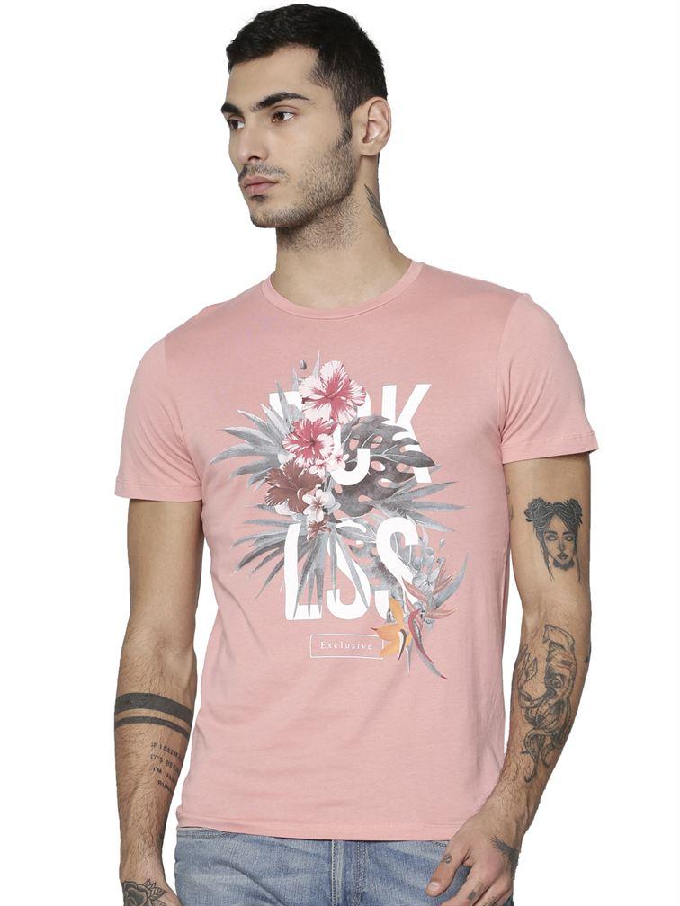 Jack & Jones Men Casual Pink T-shirt