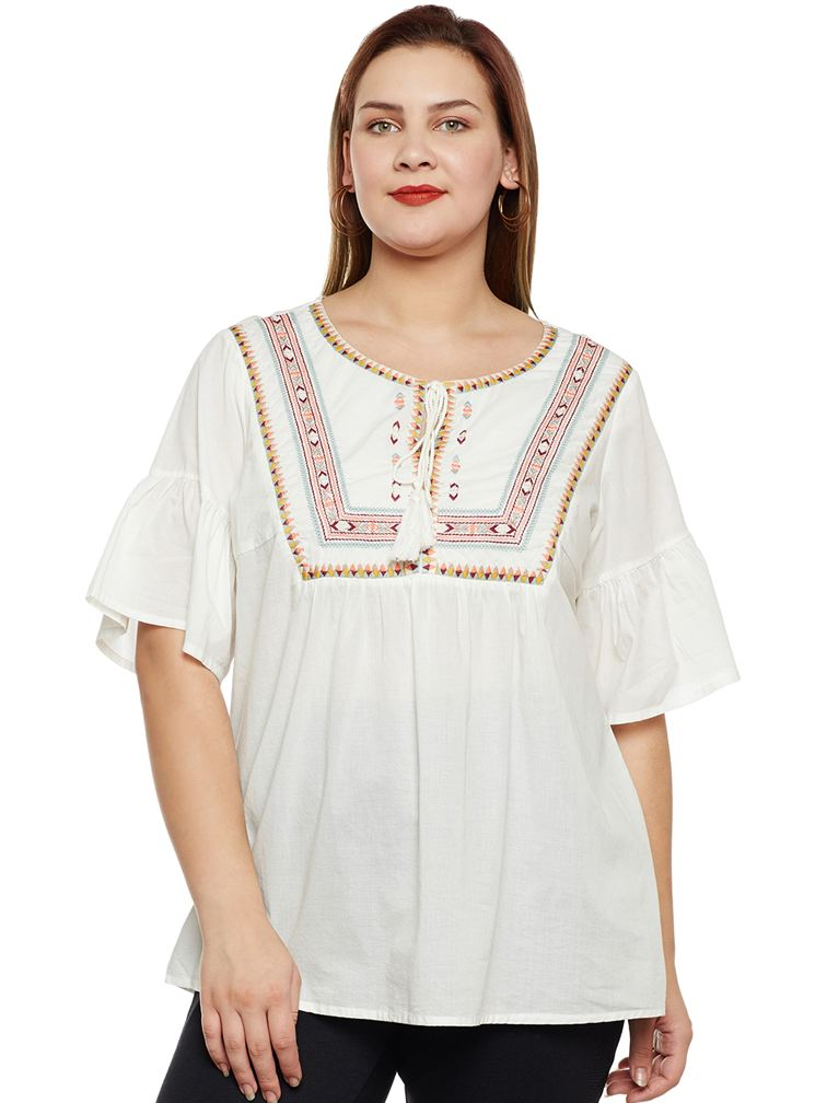 Junarose Casual Embroidered Women Top