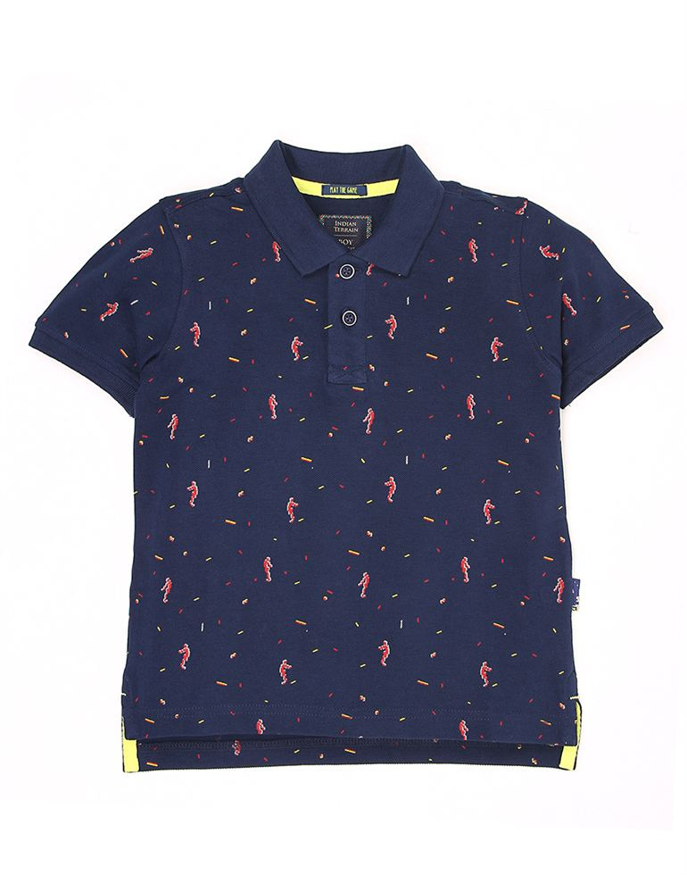 Indian Terrain Boys Blue Printed T-Shirt