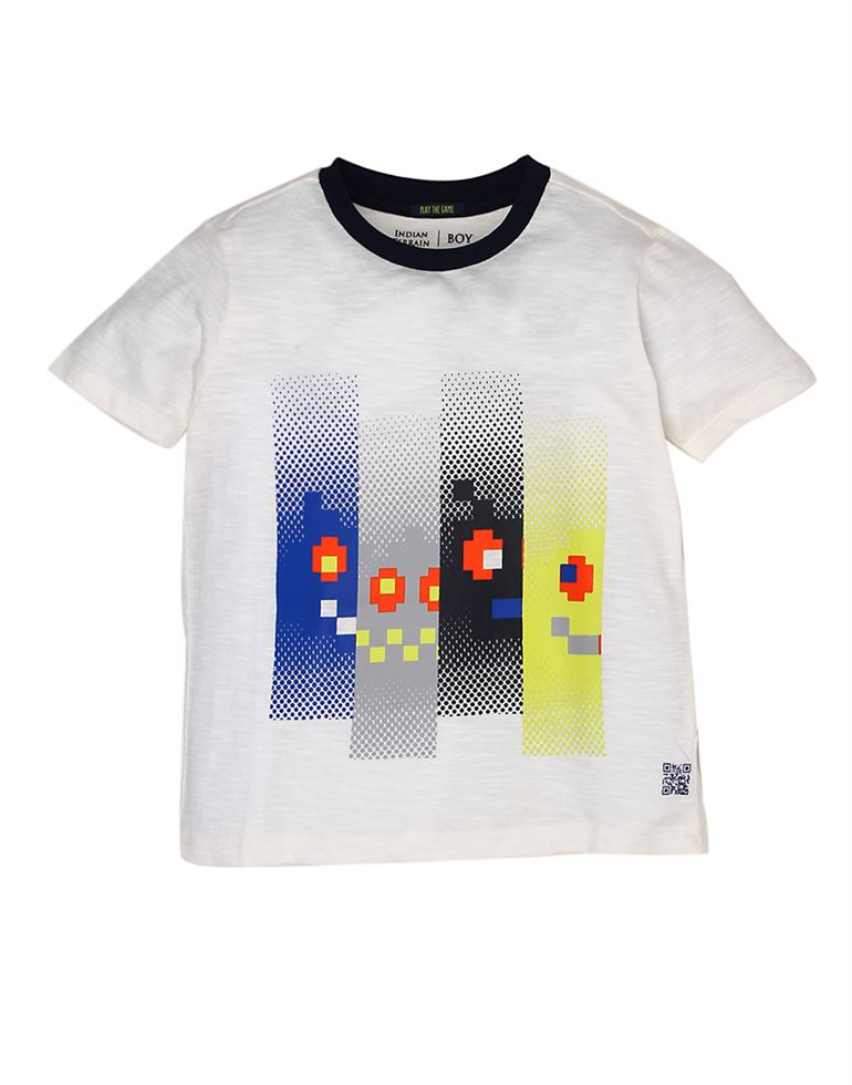 Indian Terrain Boys White Printed T-Shirt
