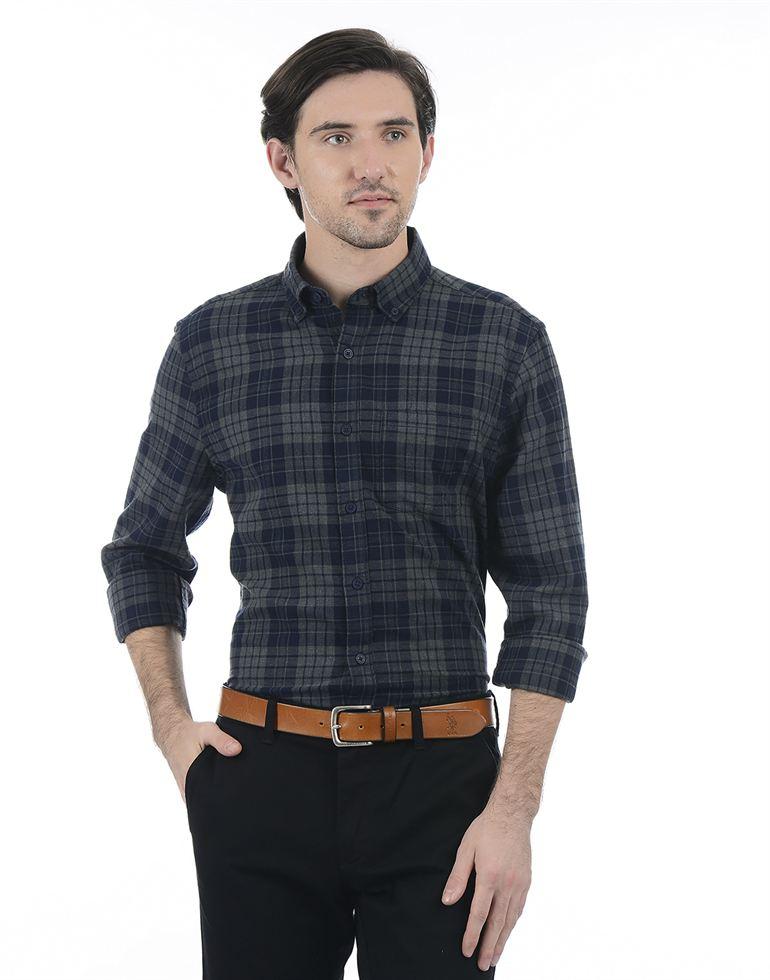 London Fog Casual Checkered Men Shirt