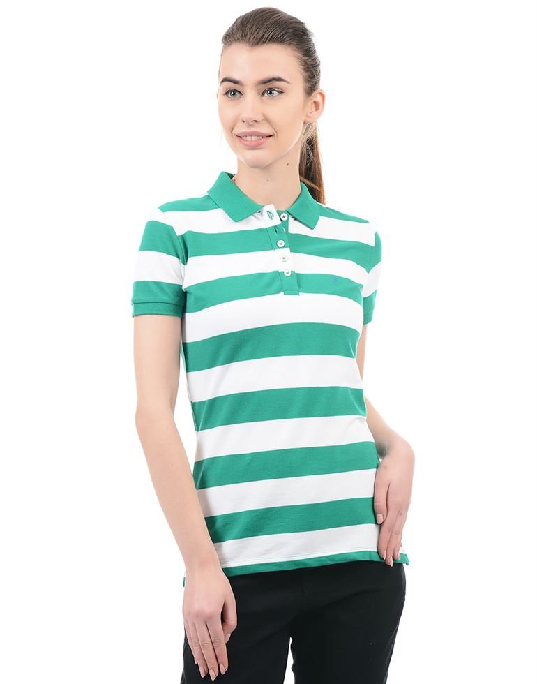 Nautica Casual Wear Striped Women Polo T-Shirt