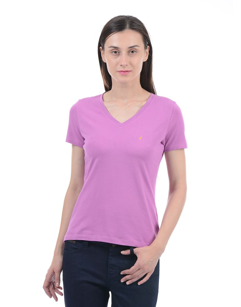 Nautica Casual Wear Solid Women T-Shirt
