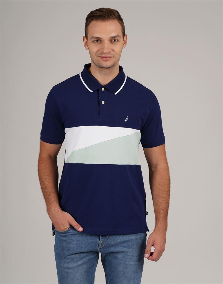 Nautica Men Casual Wear Color Block Polo T-Shirt