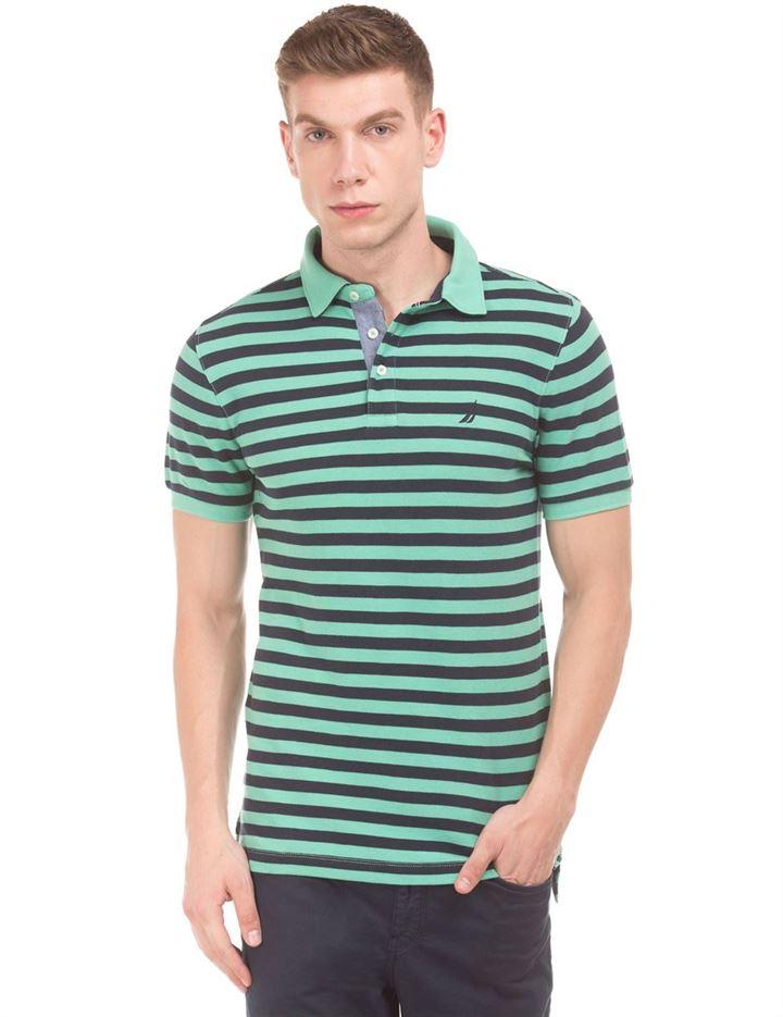 Nautica Men Casual Wear Striped Polo T-Shirt