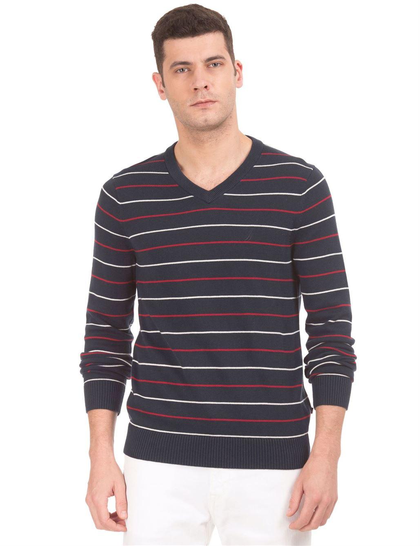 Nautica Men Casual Wear Striped Sweater