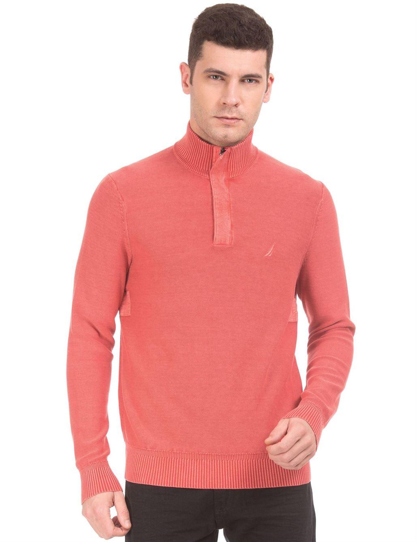 Nautica Men Orange Sweater