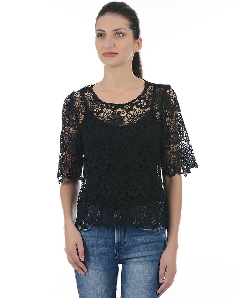 Only Women Casual Black Top