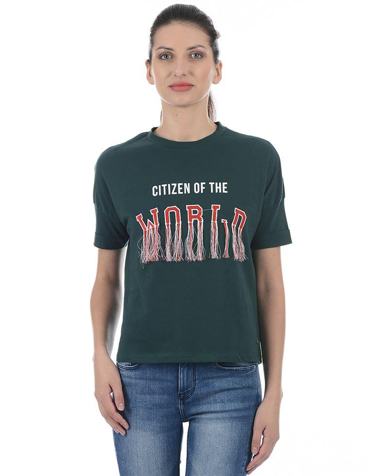 Only Women Casual Green T-Shirt