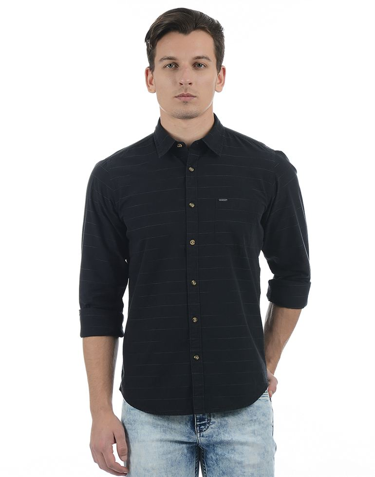Pepe Jeans Men Striped Black Shirt