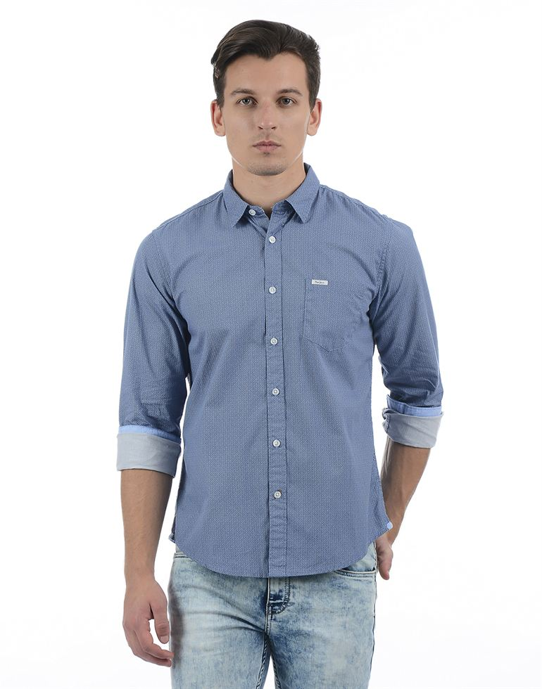 Pepe Jeans Men Solid Navy Shirt